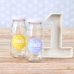 Personalized Milestone Milk Jars and Straws