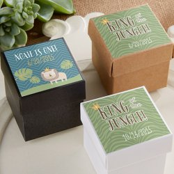 Square Favor Boxes with Personalized Birthday Labels
