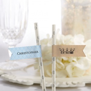 Personalized Baby Shower Straw Flags