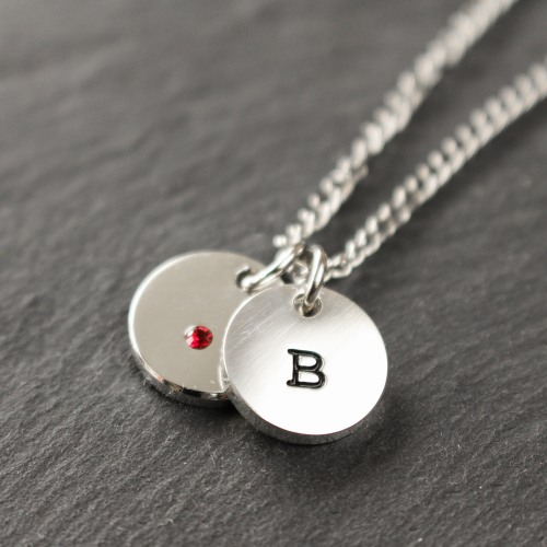 Personalized Swarovski Crystal Charm Necklace