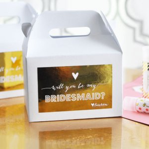 """Will You Be My Bridesmaid/Maid of Honor"" Personalized Gable Boxes"