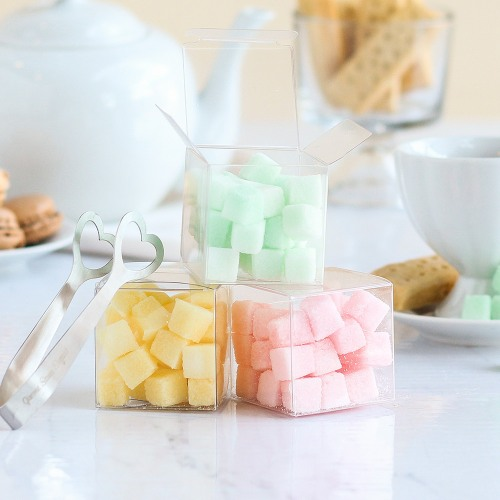 Flavored Sugar Cubes in Clear Favor Boxes
