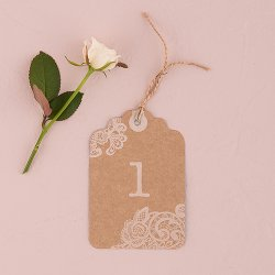 Vintage Lace Number Tags