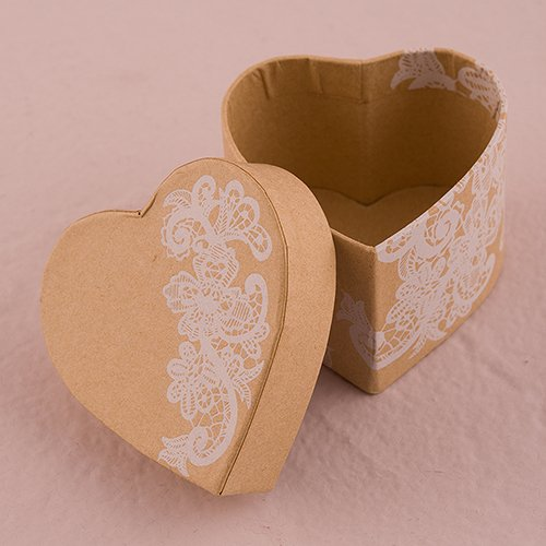 Lace Print Heart Favor Boxes