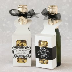 Bottle Hanger Favor Boxes with Personalized Labels