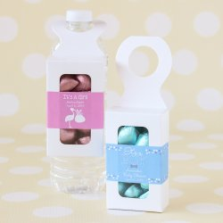Bottle Hanger Favor Boxes with Personalized Baby Shower Labels