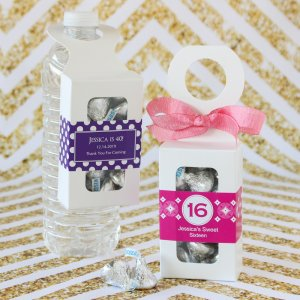 Bottle Hanger Favor Boxes with Personalized Birthday Labels