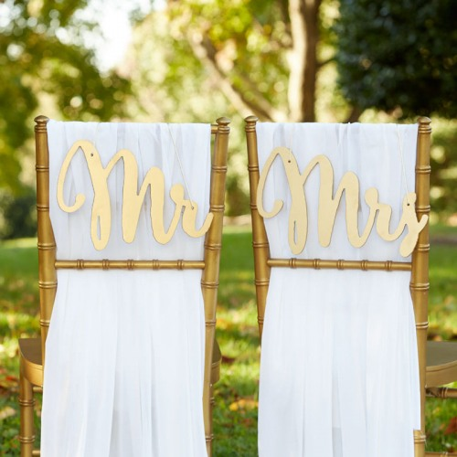 Mr. & Mrs. Chair Sign in Gold