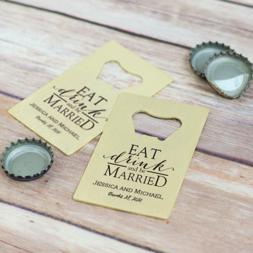 Personalized Eat Drink Be Married Credit Card Bottle Opener Favors
