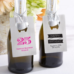 Personalized Birthday Credit Card Bottle Opener Favors