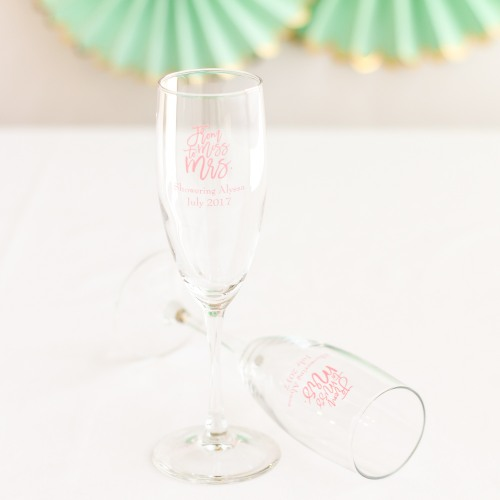 Personalized Miss to Mrs Champagne Flute