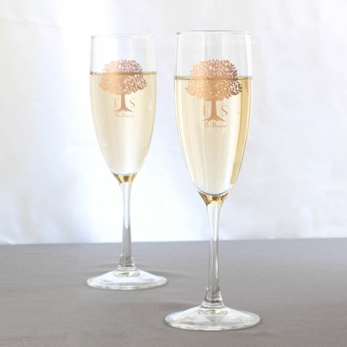 Personalized Wedding Tree Champagne Flute Favors