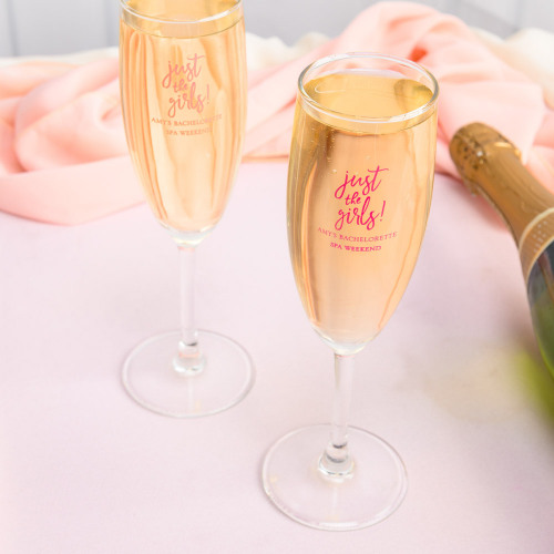 Personalized just the Girls Champagne Flute Favors