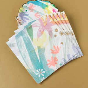 "Painted Flowers 5"" Napkins"
