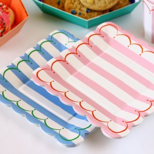 "Toot Sweet Stripe 7"" Party Plates"