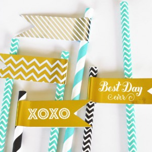 Personalized Wedding Foil Flag Labels