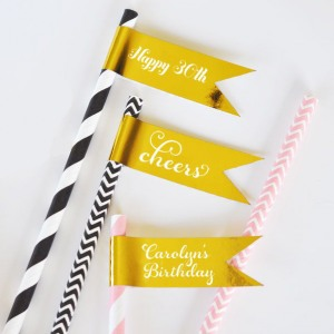 Personalized Birthday Foil Flag Labels