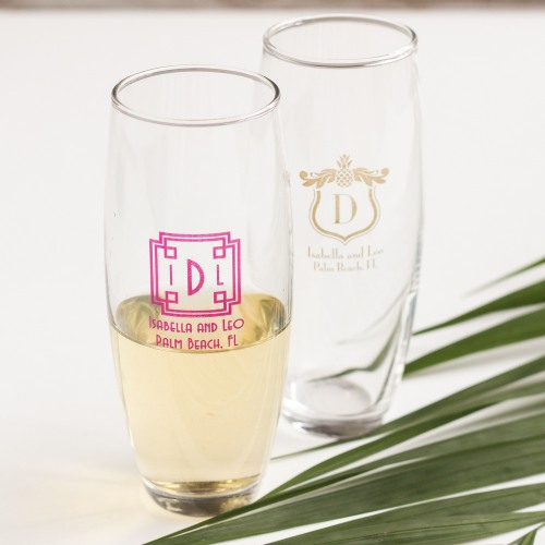 Personalized Tropical Stemless Champagne Flutes