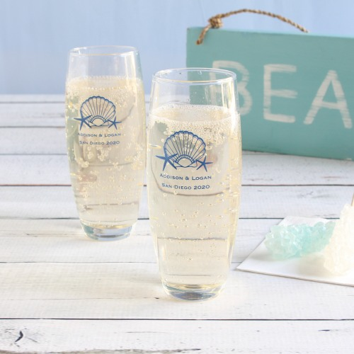 Personalized Seashell Stemless Champagne Flutes