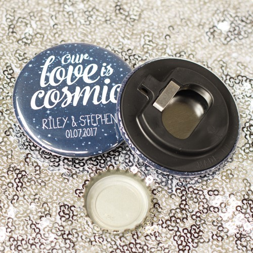Personalized Cosmic Love Button Bottle Openers