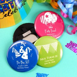 Personalized Birthday Button Bottle Opener