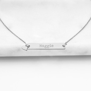 Personalized Bar Necklace with Charm