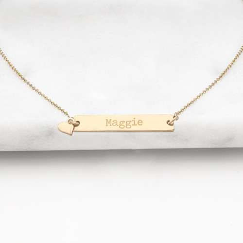 Personalized Bar Necklace with Charm in Gold