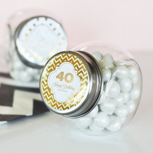 Personalized Birthday Metallic Foil Candy Jars