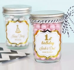 Personalized Birthday Metallic Foil Mason Jars