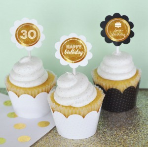 Personalized Birthday Metallic Foil Cupcake Wrappers & Toppers