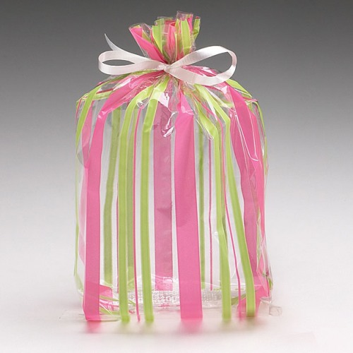 Striped Cello Bags in Pink/Green