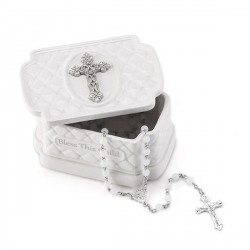 Cross Keepsake Box with Rosary Beads