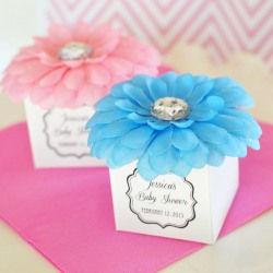 Personalized Rhinestone Flower Favor Boxes