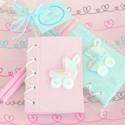 Baby Carriage Notebook Favor with Personalized Tag