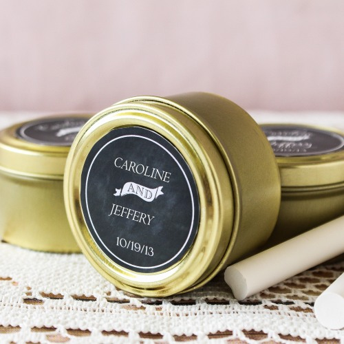 Personalized Gold Round Candy Tins
