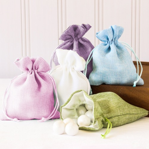 Assorted Colored Linen Favor Bags