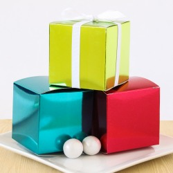 Metallic Cube Favor Boxes