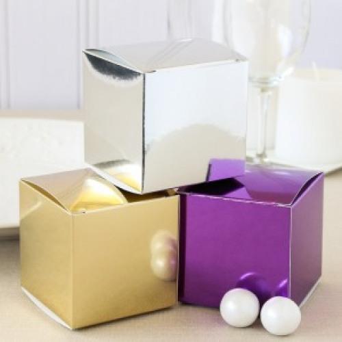 Metallic Cube Favor Box