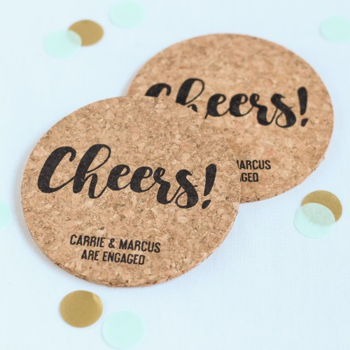 Personalized Cheers Cork Coasters