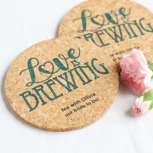 Personalized Love is Brewing Cork Coasters