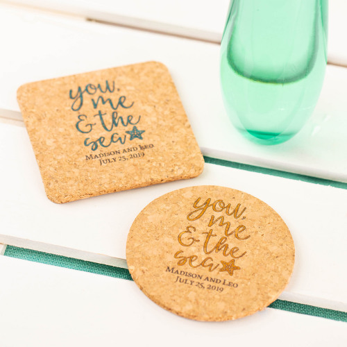 Personalized You Me & the Sea Cork Coasters