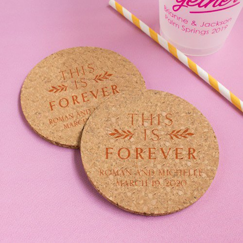 Personalized This is Forever Cork Coasters