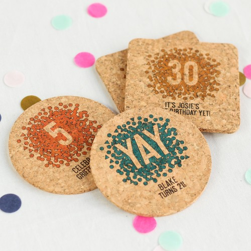 Personalized Birthday Cork Coasters