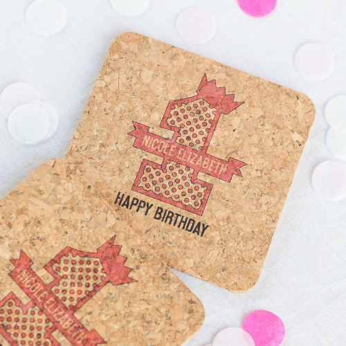 Personalized 1st Birthday Cork Coasters