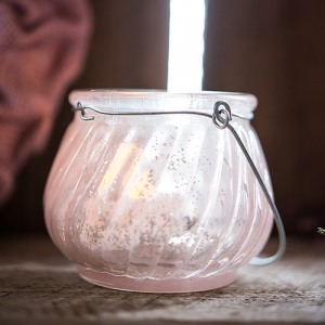 Glass Tealight Holder with Wire Hanger