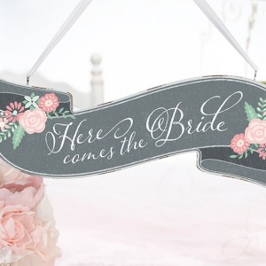 """Here Comes the Bride/Just Married"" Sign"