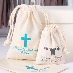 Personalized Natural Cotton Religious Favor Bag