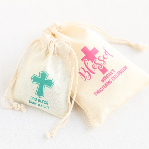 Personalized Religious Cotton Favor Bags