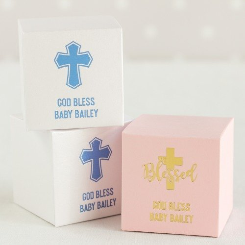 Personalized Religious Square Favor Boxes