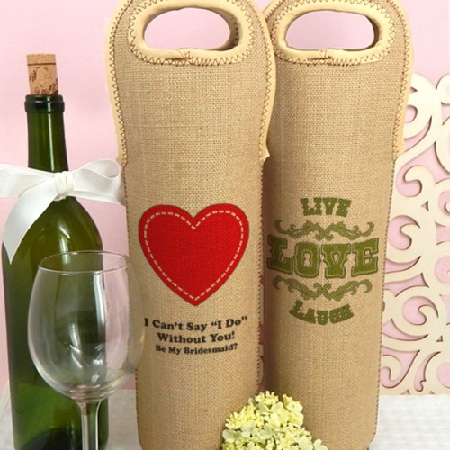 Personalized Wedding Wine Tote Bags